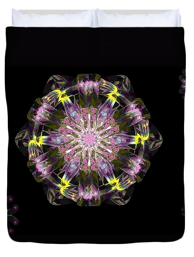 Digital Painting Duvet Cover featuring the digital art Fractal Flowers 10-20-09 by David Lane