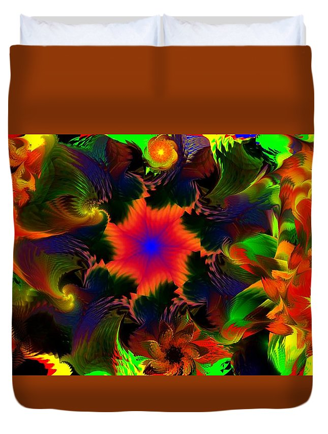 Abstract Digital Painting Duvet Cover featuring the digital art Fractal Garden 15 by David Lane