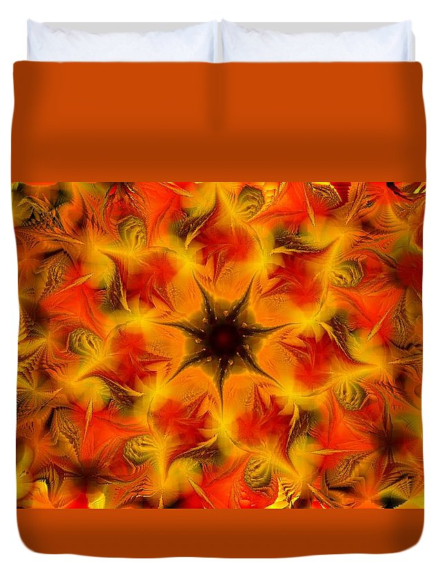 Abstract Digital Painting Duvet Cover featuring the digital art Fractal Garden 6 by David Lane