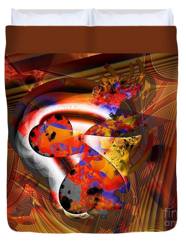 Heart Duvet Cover featuring the digital art Fractal Heart by Ron Bissett