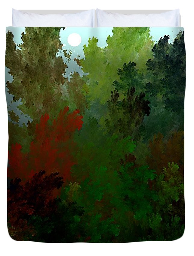 Abstract Digital Painting Duvet Cover featuring the digital art Fractal Landscape 11-21-09 by David Lane