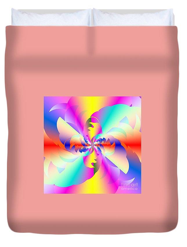 Fractured Fractal Rainbow Duvet Cover featuring the digital art Fractal Rainbow by Michael Skinner
