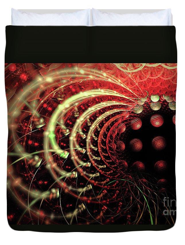 Fractal Duvet Cover featuring the digital art Fractal Solar Flare by Ann Garrett