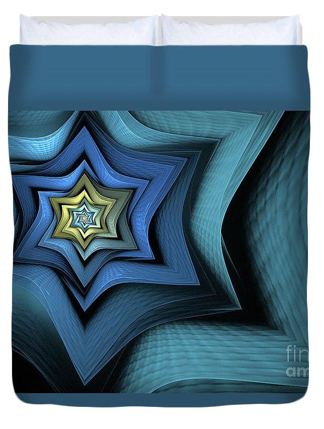 Fractal Duvet Cover featuring the digital art Fractal Star by John Edwards