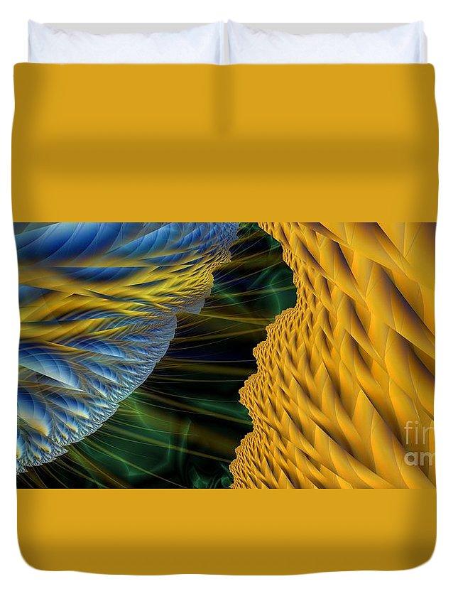 Lightning Duvet Cover featuring the digital art Fractal Storm by Ron Bissett