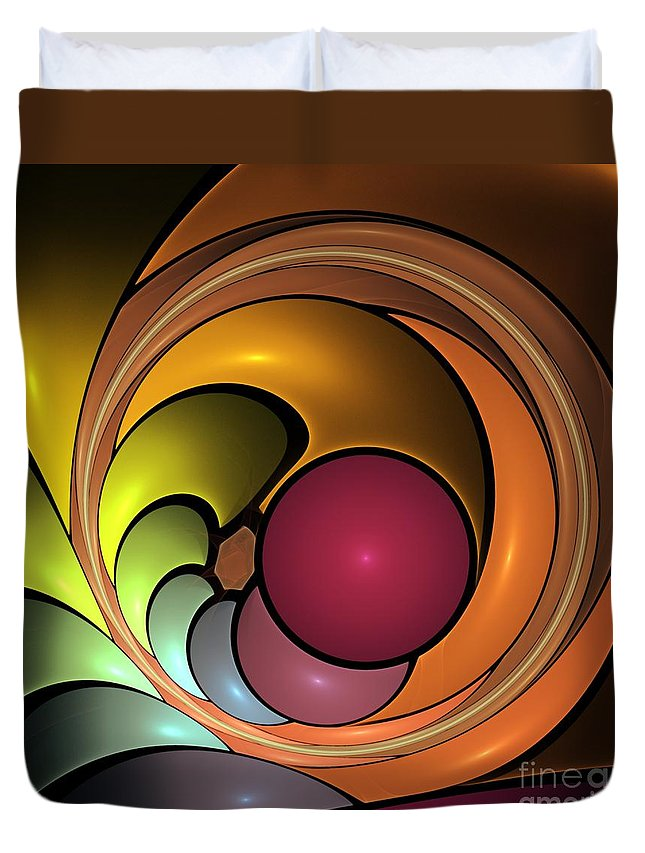 3d Duvet Cover featuring the digital art Fractal With Orange, Yellow And Red by Issabild -