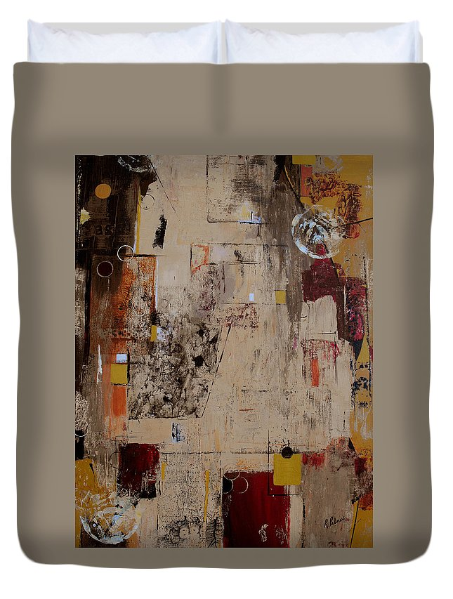 Abstract Duvet Cover featuring the painting Fractions by Ruth Palmer
