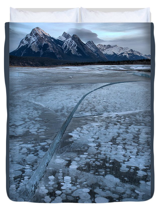 Abraham Lake Duvet Cover featuring the photograph Fracture Through The Bubbles by Adam Jewell