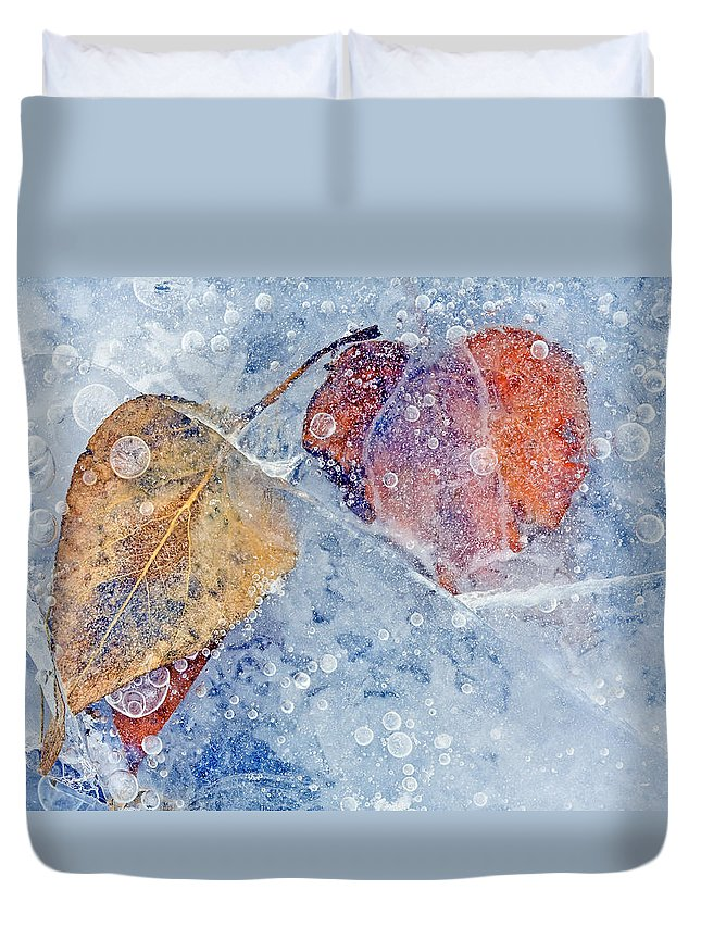 Ice Duvet Cover featuring the photograph Fractured Seasons by Mike Dawson