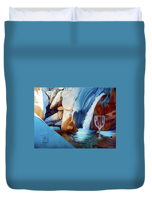 Landscape Duvet Cover featuring the painting Fragile Moments by Snake Jagger
