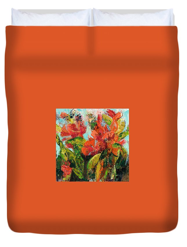 Mixed Media Duvet Cover featuring the painting Fragrant by M Jane Johnson