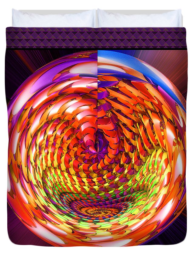 Object Duvet Cover featuring the digital art Framed Glass Spiral by Gaspar Avila