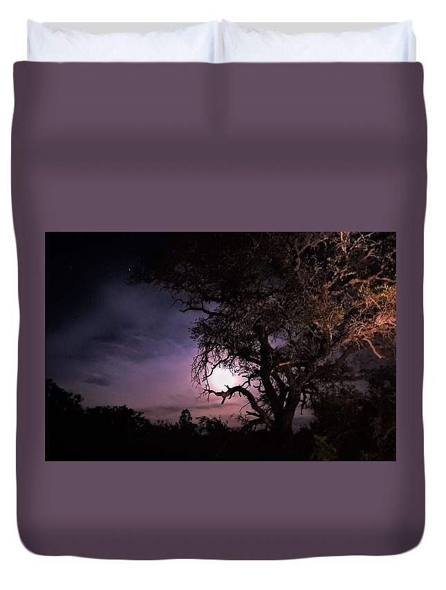 Moon Duvet Cover featuring the photograph Framed Moon by Jenny Harrison