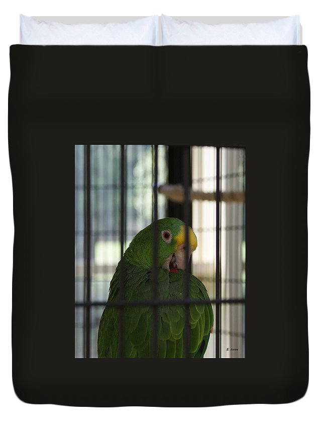 Parrot Duvet Cover featuring the photograph Framed by Shelley Jones
