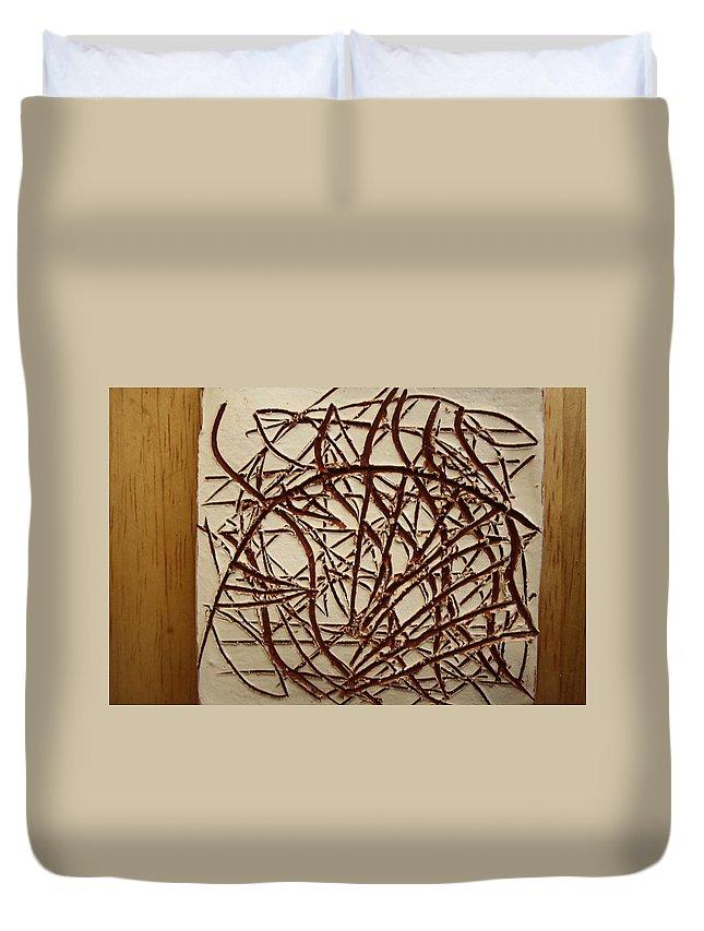 Jesus Duvet Cover featuring the ceramic art Frances - Tile by Gloria Ssali