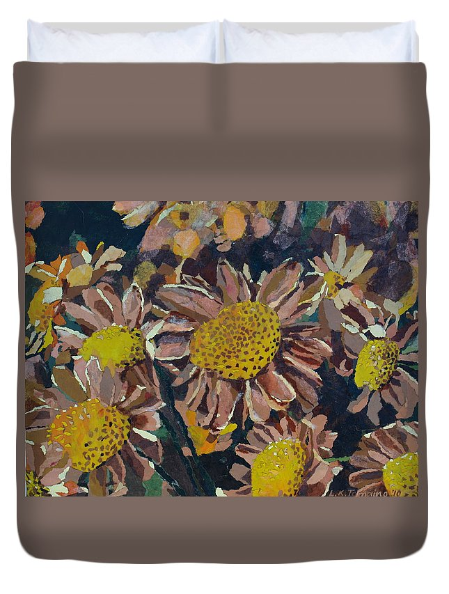 Recycle Duvet Cover featuring the painting Francescas Mums by Leah Tomaino