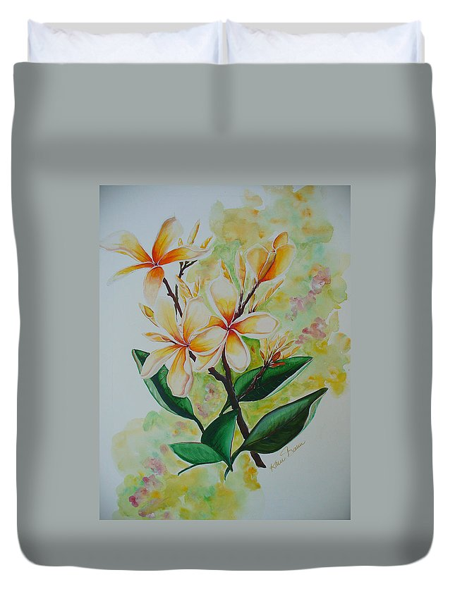 Duvet Cover featuring the painting Frangipangi by Karin Dawn Kelshall- Best