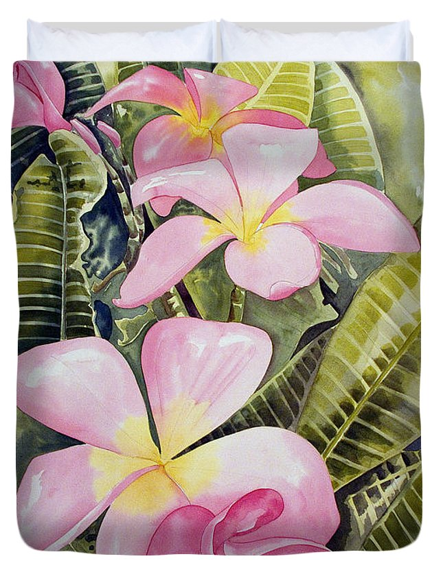 Floral Duvet Cover featuring the painting Frangipani by Kandyce Waltensperger