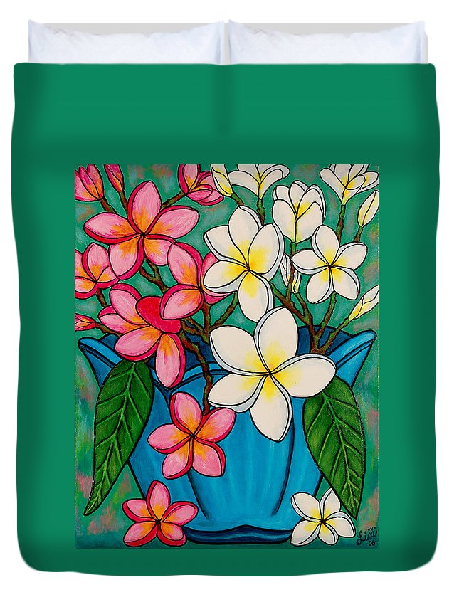 Frangipani Duvet Cover featuring the painting Frangipani Sawadee by Lisa Lorenz