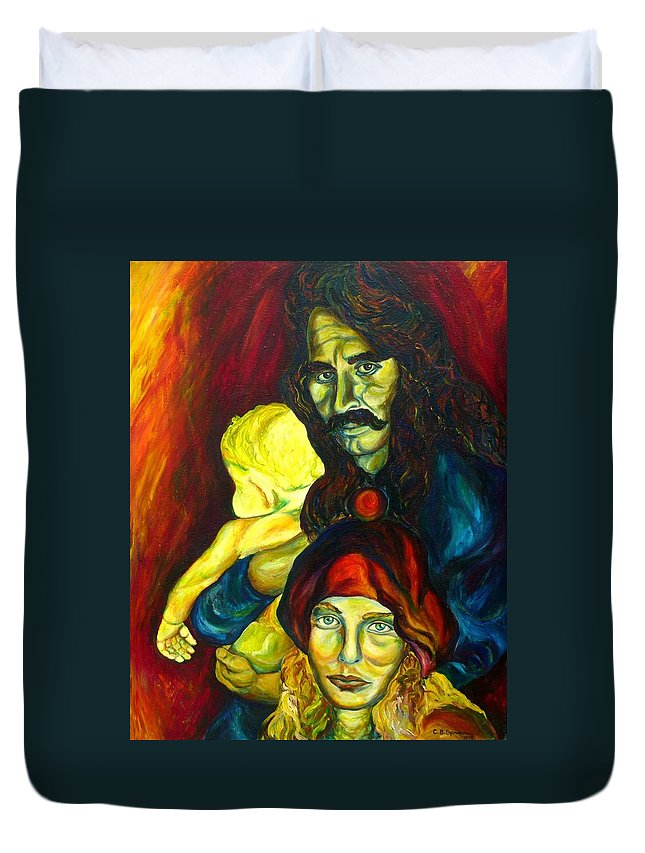 Frank Zappa Duvet Cover featuring the painting Frank Zappa  by Carole Spandau