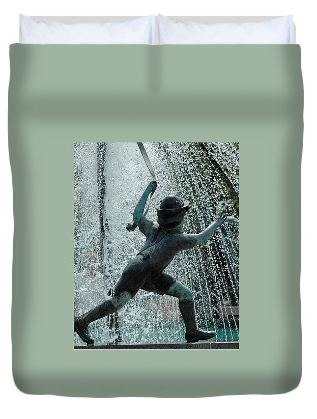 Usa Duvet Cover featuring the photograph Frankenmuth Fountain Boy by LeeAnn McLaneGoetz McLaneGoetzStudioLLCcom