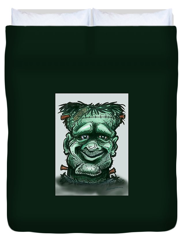 Frankenstein Duvet Cover featuring the greeting card Frankenstein by Kevin Middleton