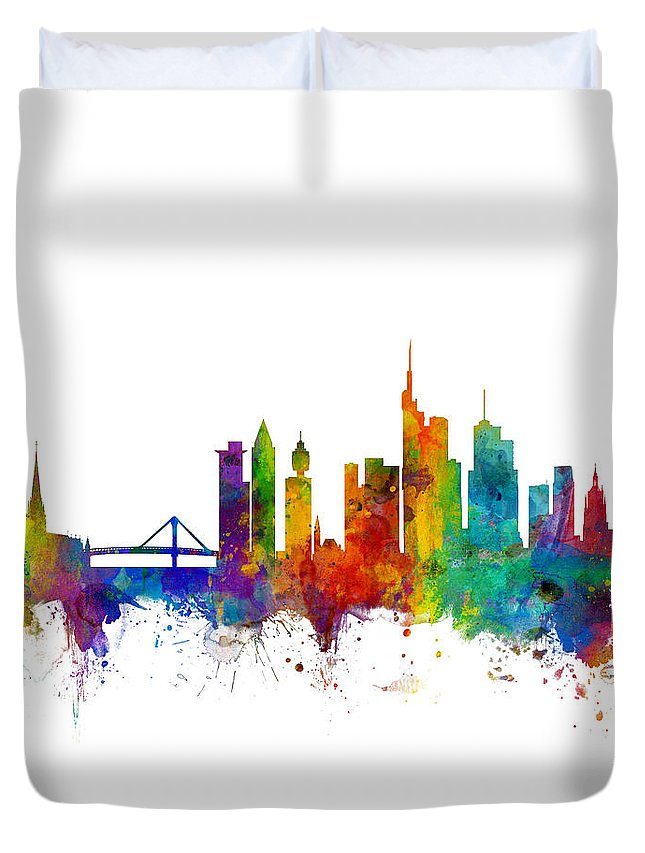 City Skyline Duvet Cover featuring the digital art Frankfurt Germany Skyline by Michael Tompsett