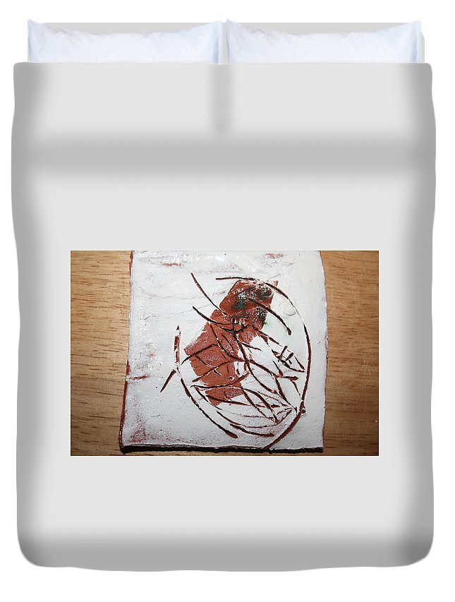 Jesus Duvet Cover featuring the ceramic art Frankie - Tile by Gloria Ssali
