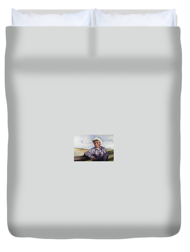 Cowboy Smile Friendly Happy Texan Texas Music Fiddler Duvet Cover featuring the painting Frankie by Sam Sidders