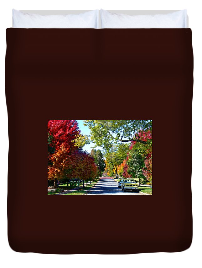 Landscape Duvet Cover featuring the photograph Franklin Street Liberty by Steve Karol