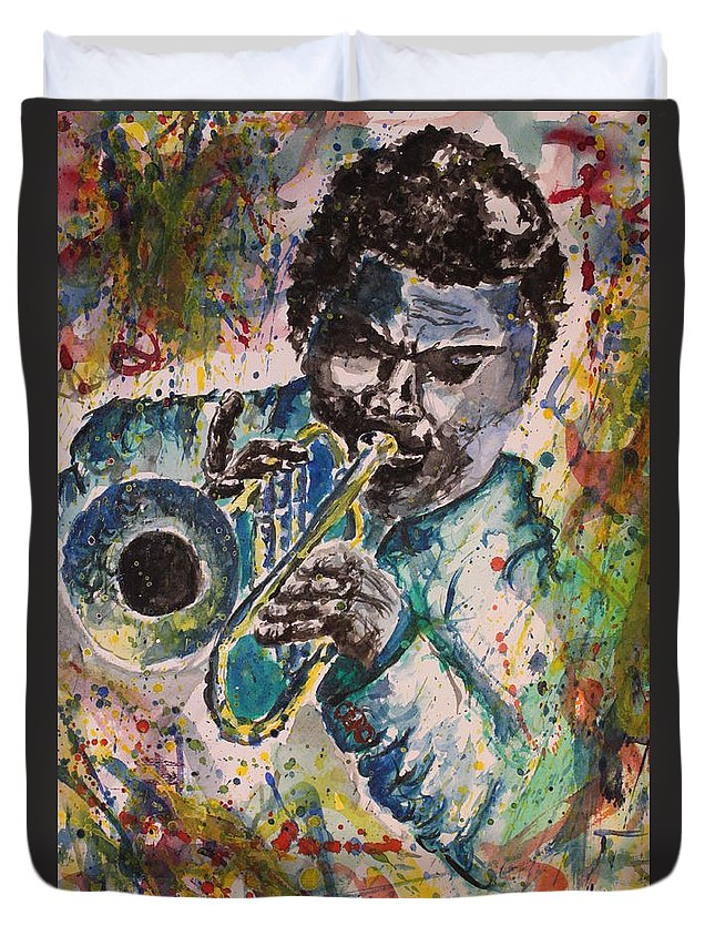 Freddie Duvet Cover featuring the painting Freddie Hubbard Jazz by Christian Obst