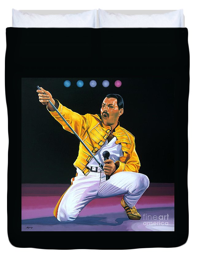 Freddie Mercury Duvet Cover featuring the painting Freddie Mercury Live by Paul Meijering