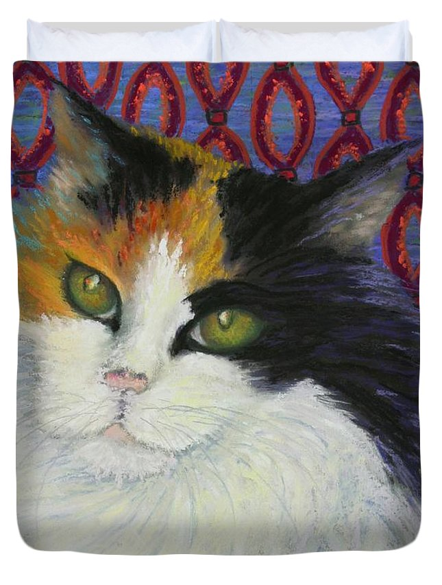 Cat Duvet Cover featuring the painting Fred's Cat by Minaz Jantz