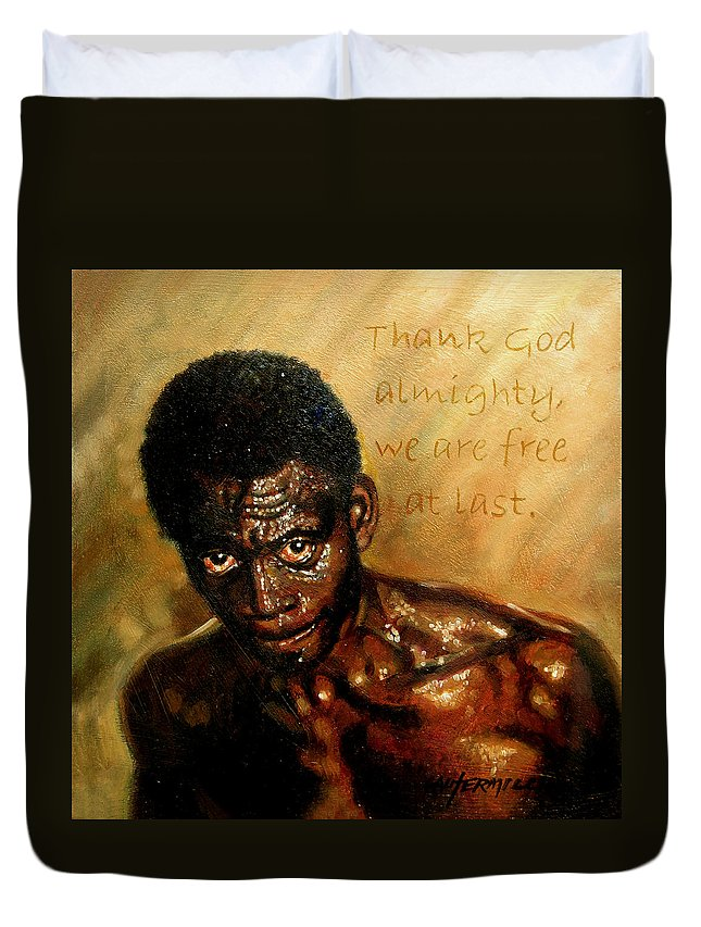 People Duvet Cover featuring the painting Free At Last by John Lautermilch