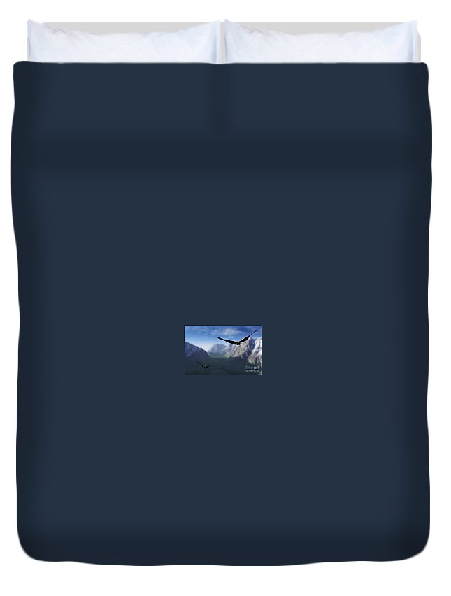 Eagles Duvet Cover featuring the digital art Free Bird by Richard Rizzo