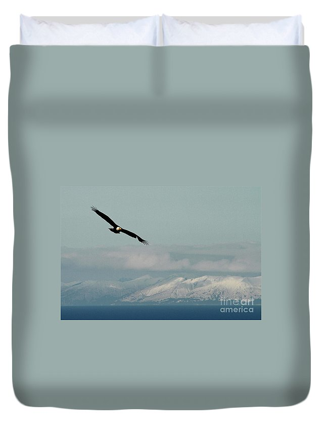 Eagle Duvet Cover featuring the photograph Free Flight by Rick Monyahan