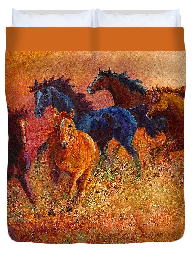 Horses Duvet Cover featuring the painting Free Range - Wild Horses by Marion Rose