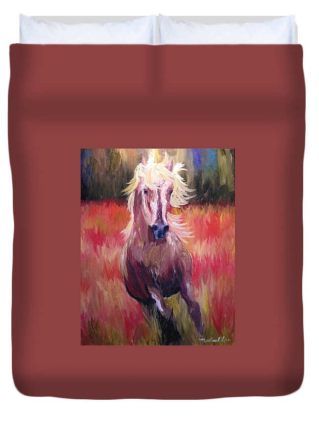 Horse Duvet Cover featuring the painting Free Runner by Michael Lee