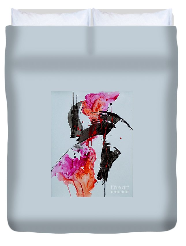 Abstract Expressionism Duvet Cover featuring the painting Free Spirit 008 by Donna Frost