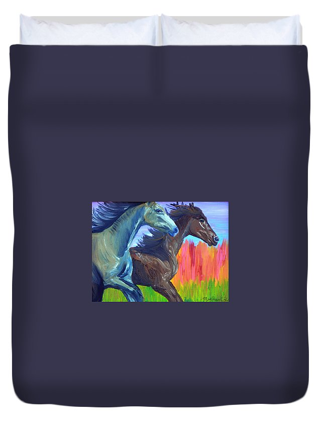 Horses Duvet Cover featuring the painting Free Spirits by Michael Lee