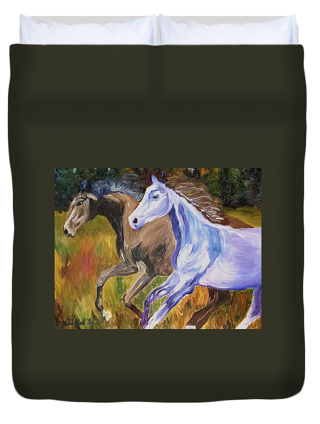 Horses Duvet Cover featuring the painting Free To Run by Michael Lee