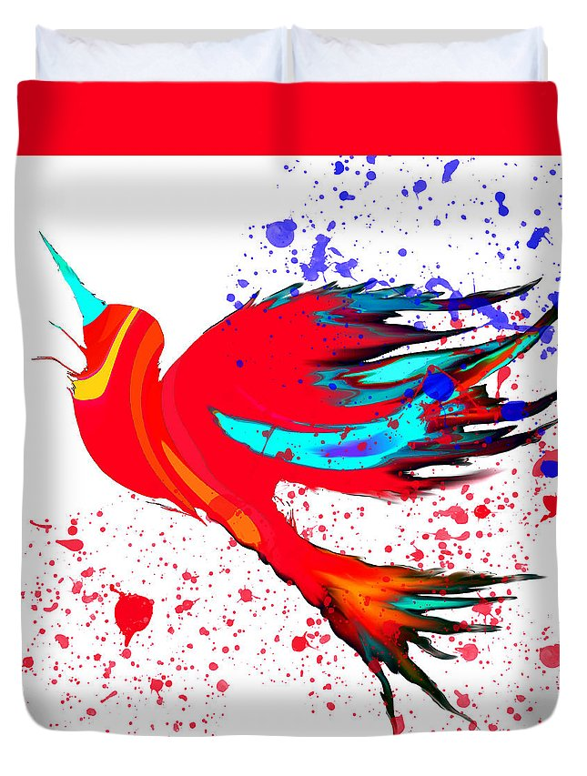 Bird Duvet Cover featuring the digital art Free To Soar Higher by Abstract Angel Artist Stephen K