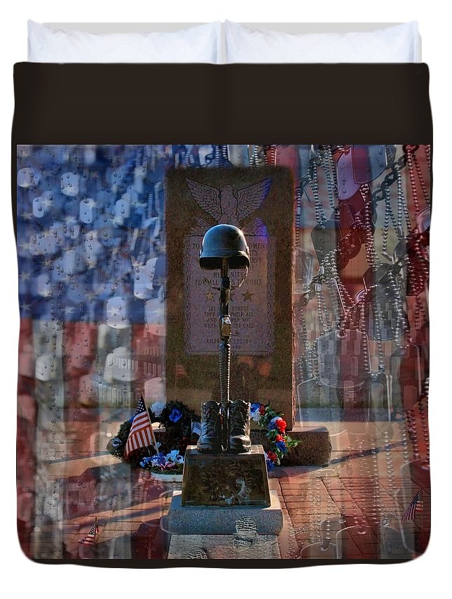 Dog Tag Duvet Cover featuring the digital art Freedom Ain't Free by DJ Florek