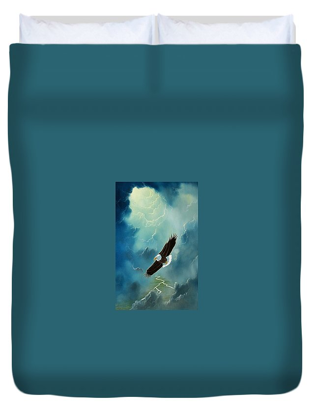 Eagle Duvet Cover featuring the painting Freedom by Don Griffiths