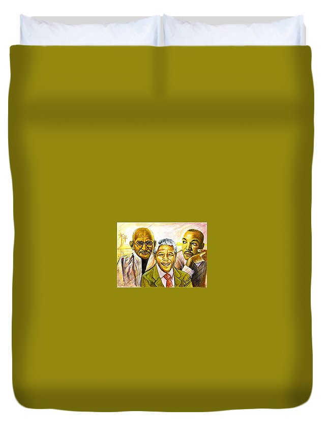 Portrait Paintings Duvet Cover featuring the painting Freedom Hero by Wale Adeoye