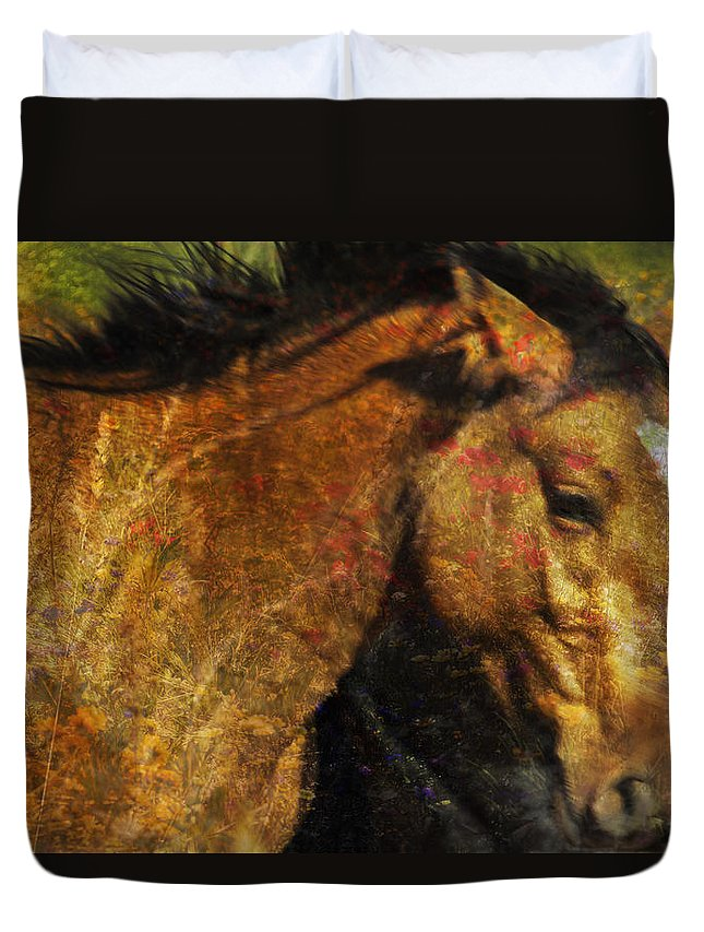 Pryor Mustangs Duvet Cover featuring the photograph Freedom Is Intrinsic by Belinda Greb