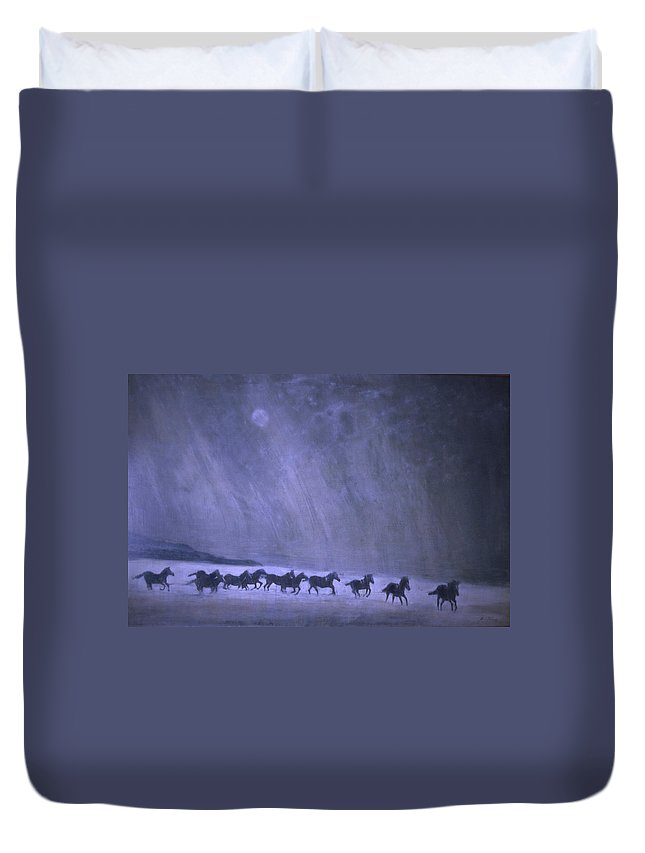 Horse Duvet Cover featuring the painting Freedom by Jarmo Korhonen aka Jarko