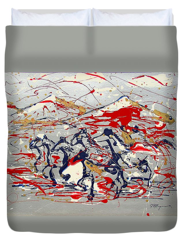 Wild Horses Duvet Cover featuring the painting Freedom On The Open Range by J R Seymour