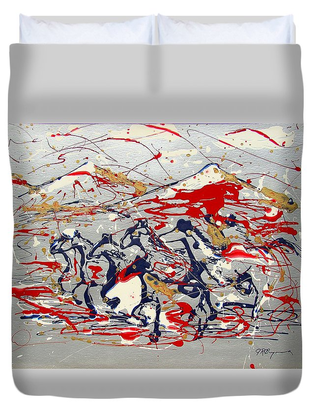Freedom On The Open Range Duvet Cover featuring the painting Freedom On The Open Range by J R Seymour