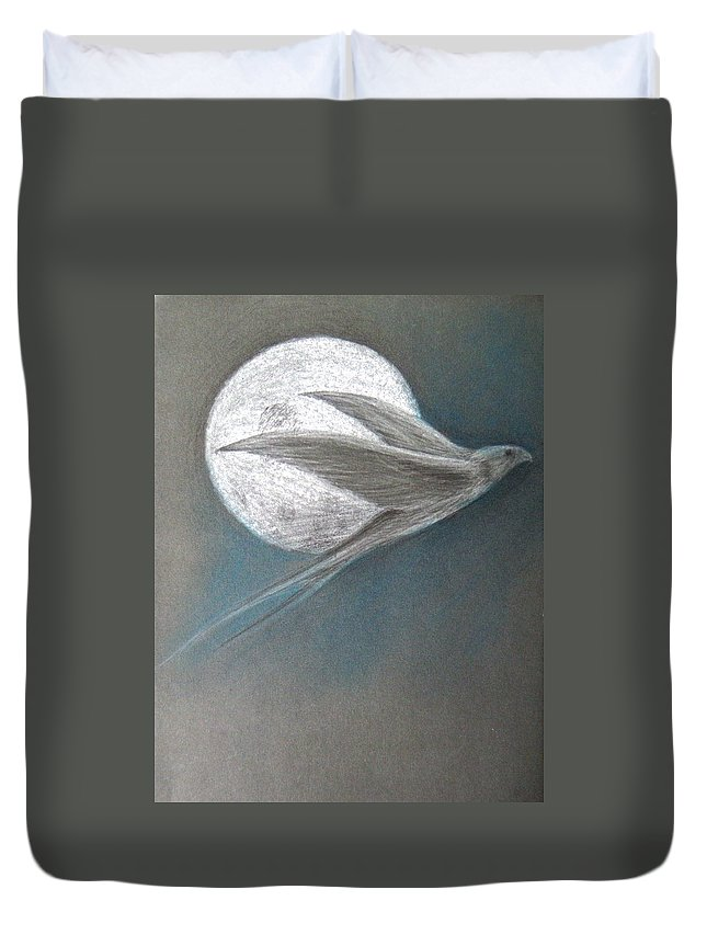 Shaun Duvet Cover featuring the drawing Freedom by Shaun McNicholas